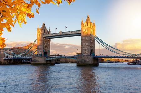 View to the Tower Birdge in London on a sunny autumn afternoon, United Kingdom