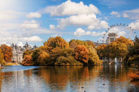 View towards St. James Park in London during autumn season with golden trees and sunshine, United Kingdom