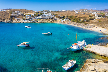 Aerial view to the bay and beach of Agia Anna on the island of Mykonos with pristine, turquoise sea, Cyclades, Greece