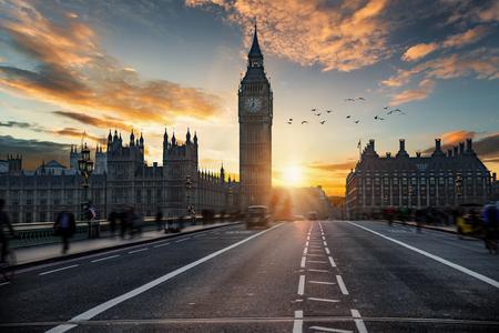 Sunset behind the Big Ben clocktower and Westminster bridge in London, United Kingdom Reklamní fotografie