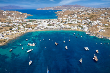 Aerial view of the popular Ornos beach on the island of Mykonos, Cyclades, Greece