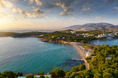 Astir Beach in Vouliagmeni, close to Athens, Greece, during sunset time