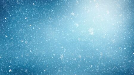A background texture of a winter landscape with snowflakes and cold color toning