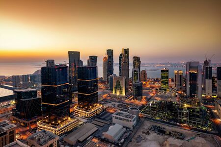 Panoramic view of the City Center skyline of Doha, Qatar, during sunrise time