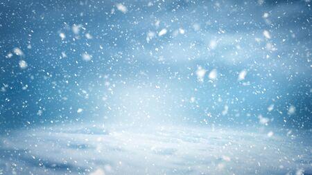 Un motivo di sfondo di un paesaggio invernale con fiocchi di neve, nuvole e luce fredda
