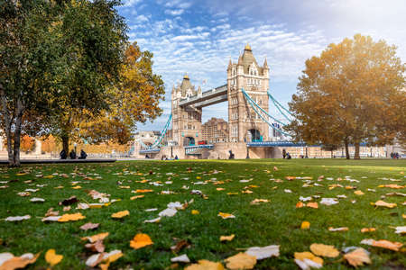 Beautiful view to the Tower Bridge of London, UK, during autumn time with golden sunshine and defocused, colorful leafs in front