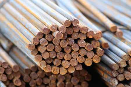 corode: Many piles of rusty rebars Stock Photo