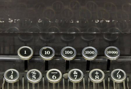 Numbers on an old typewriter, closeup photo