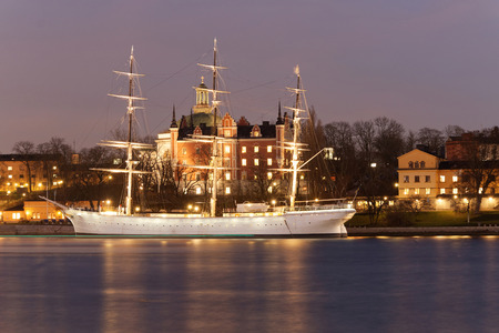 chapman: Old sailing ship Af Chapman in central Stockholm