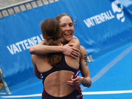 STOCKHOLM - AUG 23: Sarah Groff hugging Lindsay Jerdonik after winning the Women