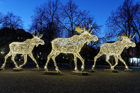 santa moose: Floc of Christmas moose made of led light, Nybrokajen, Stockholm, Sweden