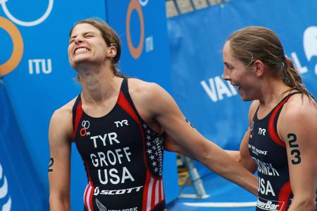lindsay: STOCKHOLM - AUG 23, 2014: Sarah Groff Sarah Groff lauging after winning with Lindsay Jerdonik the Women