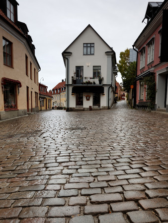 cobble: Rainy day in ancient city. Cobble stones and houses