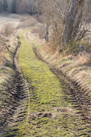 Country lane with tracks from tractor. Early spring photo