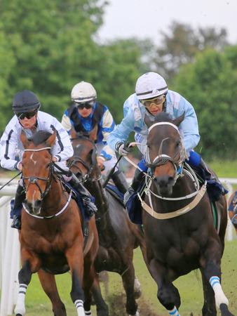 ストックホルム - 6 月 6 日: Gardet で Nationaldags Galoppen で熱戦レース馬 3 騎手。2015 年 6 月 6 日ストックホルムで 報道画像