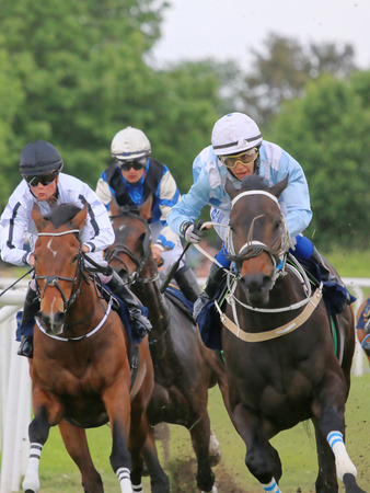 STOCKHOLM - JUNE 06: Three jockeys on race horses competing hard at the Nationaldags Galoppen at Gardet. June 6, 2015 in Stockholm Editorial