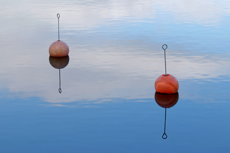 floaters: Two red buoy reflecting in the calm water
