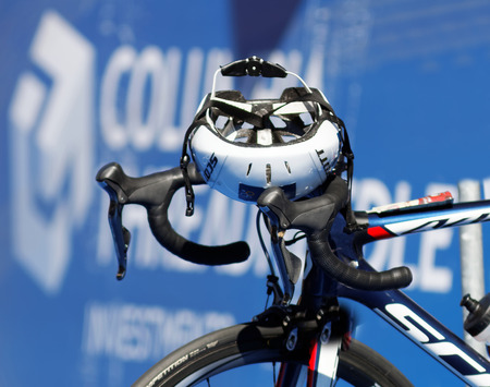 triathlete: STOCKHOLM - AUG 22, 2015: Sports helmet on triathlete Sarah Trues bicycle in the Womens ITU World Triathlon series event August 22, 2015 in Stockholm, Sweden
