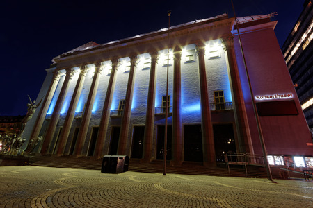 nobel: STOCKHOLM, SWEDEN - OCT 12, 2015: Stockholm concert hall where the Nobel prize ceremony take place December 13 every year. October 12, 2015 in Stockholm, Sweden Editorial