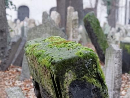 headstones: PRAGUE, CZECHIA - DEC 04, 2015: Old Jewish cemetery, close-up of ancient headstones in disorder. December 04, 2015 in Prague, Czechia