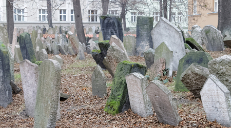 czechia: PRAGUE, CZECHIA - DEC 04, 2015: Old Jewish cemetery with lots of ancient headstones. December 04, 2015 in Prague, Czechia