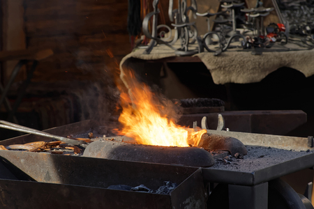 medieval blacksmith: The fire used by the blacksmith in the forge