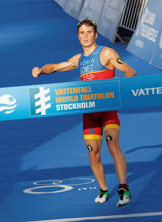 gomez: STOCKHOLM, SWEDEN - AUG 23, 2015: Triathlete Javier Gomez Noya (ESP) winning the triathlon competition at the Mens ITU World Triathlon series event August 23, 2015 in Stockholm, Sweden