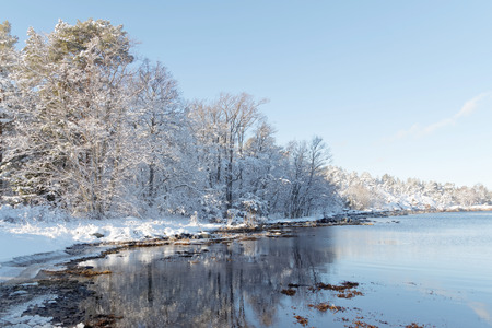 Beautiful trees covered with snow reflecting in the water in the wintry archipelago Stock Photo