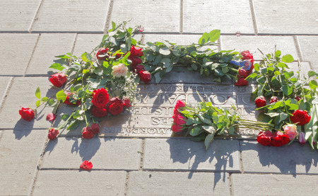 unsolved: STOCKHOLM, SWEDEN - FEB 28, 2016: Roses on the spot where the swedish prime minister Olof Palme was murdered at Sveavaegen on the memorial day 30 years after the murder. February 28, 2016, Stockholm, Sweden Editorial