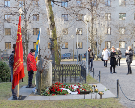 unsolved: STOCKHOLM, SWEDEN - FEB 28, 2016: Memorial day 30 years after the murder of the swedish prime mininster Olof Palme. Swedish people showing their respect at his grave. February 28, 2016, Stockholm, Sweden Editorial