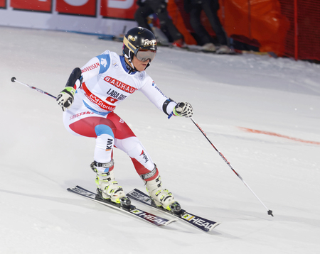 woman squirt: STOCKHOLM, SWEDEN - FEB 23, 2016: Skier Lara Gut (SUI) at the FIS Alpine Ski World Cup - city event February 23, 2016, Stockholm, Sweden Editorial