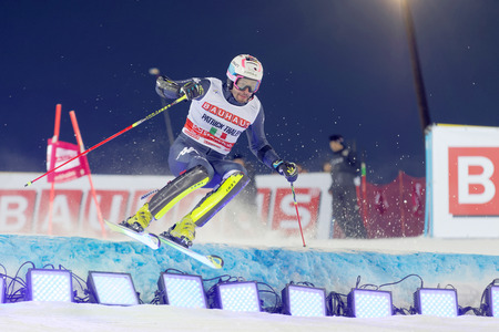 thaler: STOCKHOLM, SWEDEN - FEB 23, 2016: Patrick Thaler (ITA) skiing at the FIS Alpine Ski World Cup - city event February 23, 2016, Stockholm, Sweden Editorial