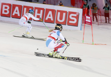 woman squirt: STOCKHOLM, SWEDEN - FEB 23, 2016: Skier Lara Gut (SUI) and competitor at the FIS Alpine Ski World Cup - city event February 23, 2016, Stockholm, Sweden