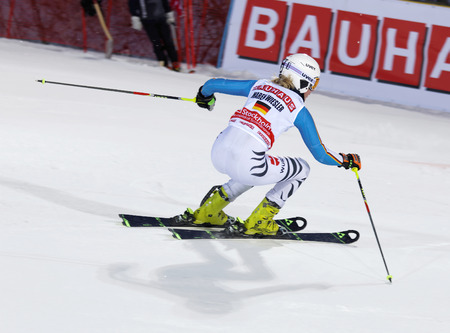woman squirt: STOCKHOLM, SWEDEN - FEB 23, 2016: Maren Wiesler (GER) skiing at the FIS Alpine Ski World Cup - Mens and Womans city event February 23, 2016, Stockholm, Sweden