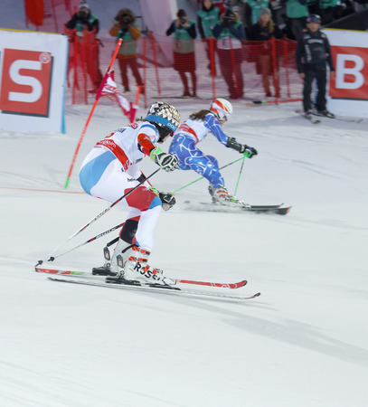 woman squirt: STOCKHOLM, SWEDEN - FEB 23, 2016: Skier Michelle Gisin (SUI) and competitor at the FIS Alpine Ski World Cup - city event February 23, 2016, Stockholm, Sweden