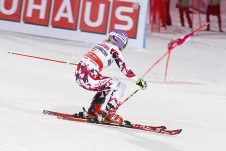 woman squirt: STOCKHOLM, SWEDEN - FEB 23, 2016: Skier Michaela Kirchgasser (AUT) at the FIS Alpine Ski World Cup - city event February 23, 2016, Stockholm, Sweden