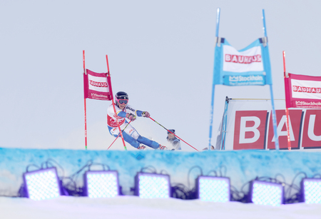 woman squirt: STOCKHOLM, SWEDEN - FEB 23, 2016: Frida Hansdotter (SWE) skiing at the FIS Alpine Ski World Cup - Mens and Womans city event February 23, 2016, Stockholm, Sweden
