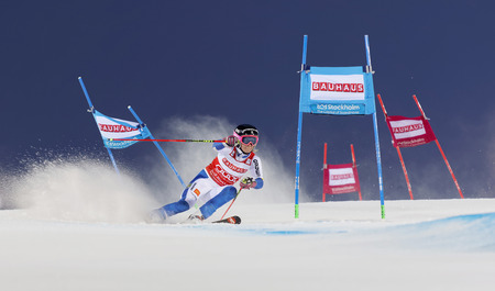 fis: STOCKHOLM, SWEDEN - FEB 23, 2016: Frida Hansdotter (SWE) skiing at the FIS Alpine Ski World Cup - Mens and Womans city event February 23, 2016, Stockholm, Sweden
