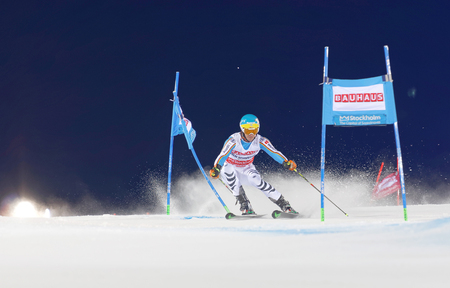 felix: STOCKHOLM, SWEDEN - FEB 23, 2016: Felix Neureuther (GER) skiing at the FIS Alpine Ski World Cup - city event February 23, 2016, Stockholm, Sweden Editorial
