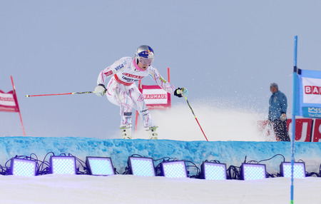 woman squirt: STOCKHOLM, SWEDEN - FEB 23, 2016: Lindsey Vonn (USA) jumping at the FIS Alpine Ski World Cup - Mens and Womans city event February 23, 2016, Stockholm, Sweden