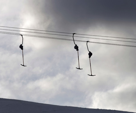 Silhouett of a ski lift in the evenling light