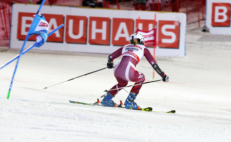 nina: STOCKHOLM, SWEDEN - FEB 23, 2016: Nina Loeseth (NOR) skiing at the Audis FIS Alpine Ski World Cup - city event February 23, 2016, Stockholm, Sweden