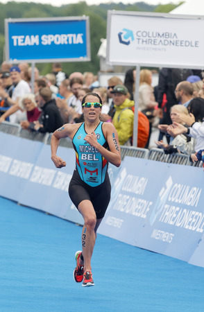 STOCKHOLM - JUL 02, 2016: Triathlete Claire Michel (BEL) running at the finish in the Womens ITU World Triathlon series event July 02, 2016 in Stockholm, Sweden Editorial