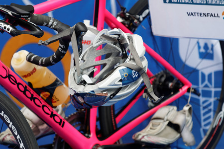 STOCKHOLM - JUL 02, 2016: Closeup of a professional triathlon cycles in the Womens ITU World Triathlon series event July 02, 2016 in Stockholm, Sweden Editorial