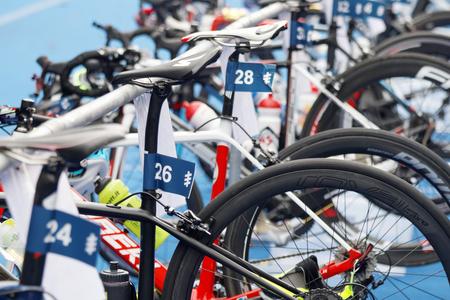 STOCKHOLM - JUL 02, 2016: Closeup of a professional triathlon cycles in the Womens ITU World Triathlon series event July 02, 2016 in Stockholm, Sweden Redakční
