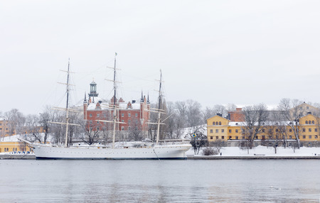 chapman: Beautiful boat af Chapman in central Stockholm a cold winter morning Editorial