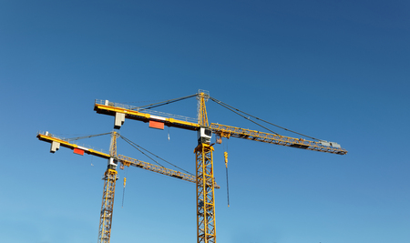 sihouette: Sihouette of yellow cranes and blue sky
