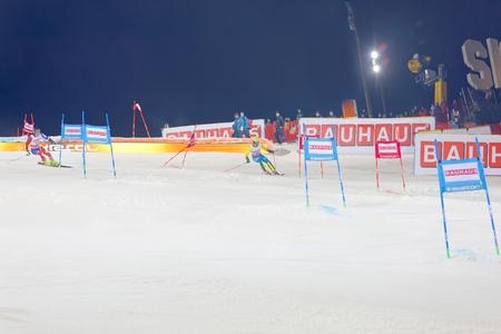 STOCKHOLM, SWEDEN - JAN 31, 2017: Mattias Hargin (SWE) and competitor Dave Ryding in the parallel slalom alpine event, Audi FIS Ski World Cup. January 31, 2017, Stockholm, Sweden