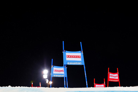 black giant mountain: STOCKHOLM, SWEDEN - JAN 31, 2017: Blue and red slalom gates and black sky in the parallel slalom event, at the Alpine Audi FIS Ski World Cup - city event January 31, 2017, Stockholm, Sweden