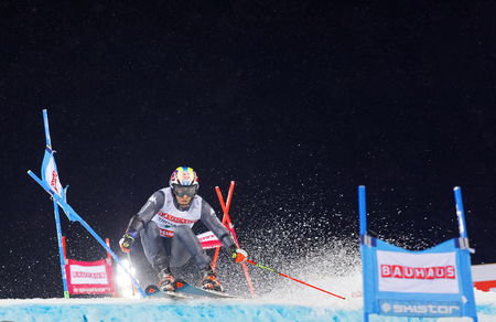 STOCKHOLM, SWEDEN - JAN 31, 2017: Stefano Gross (ITA)prepare a jump in the downhill skiing in the parallel slalom alpine event, Audi FIS Ski World Cup. January 31, 2017, Stockholm, Sweden Editorial
